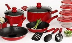 Prepare your favorite family meals with our striking red cookware set. #AnnasLinens #Cooking
