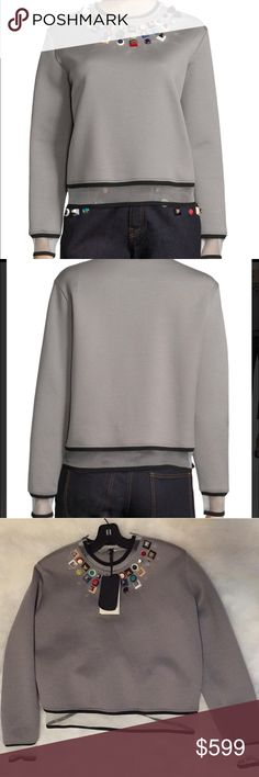 """Fendi embellished collar sweatshirt w/ sheer trim New with tags $1250.00 Fendi embellished sweatshirt. Size 40... saks site says this is a 4, but I find this to be oversized, appropriate for a 6/8. Laying flat arm pit to arm pit measures 21 inches.  Jersey sweatshirt with studded yoke and sheer trim. Long sleeves. Ribbed crewneck, cuffs and hem inset with sheer trim. Pullover style. Silk lining. About 23"""" from shoulder to hem. Cotton/nylon. Trim: Polyester/nylon/elastane/ABS studs. Dry…"""