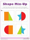 Kids cut out shapes to put these silly, mixed-up pictures back together. After your child puts the cut out shapes together, have her name and describe each shape. Cutting Activities, Preschool Activities, Shape Activities, Preschool Printables, Shapes Worksheets, Worksheets For Kids, Symmetry Worksheets, Preschool Math, Kindergarten Math