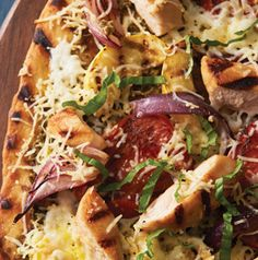 Grilled Chicken and Veggie Pizza is made entirely on the grill! The chicken and veggies are grilled, then the pizza itself is grilled. You never have to touch your oven.