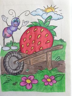 Drawing Classes For Kids, Basic Drawing For Kids, Scenery Drawing For Kids, Easy Drawings For Kids, Kids Art Class, Oil Pastel Drawings Easy, Pastel Artwork, Oil Pastel Paintings, Cool Art Drawings