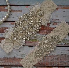 Ivory Rhinestone Wedding Garter Rhinestone Bridal Garter Set