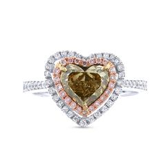 1.13ct Heart Cut Center &..57ct Side 18k Two-tone Rose Gold GIA Certified Natural Yellow Diamond Ring - Allurez.com