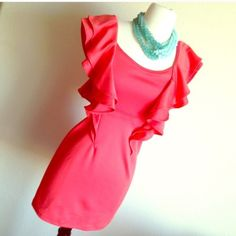 coral ruffled dress Dress is stretchy material could possibly for a large, only used once Dresses
