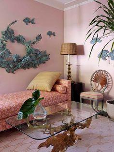 Pink living room by designer Jean-Louis Deniot