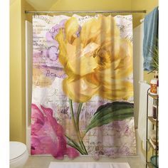 Shop for Sitting Pretty II Shower Curtain - Pink/Gold/White. Get free delivery On EVERYTHING* Overstock - Your Online Shower Curtains & Accessories Store! Curtain Store, Beautiful Roses, Pink And Gold, Abstract, Pretty, Floral, Pattern, Shower Curtains, Home Decor