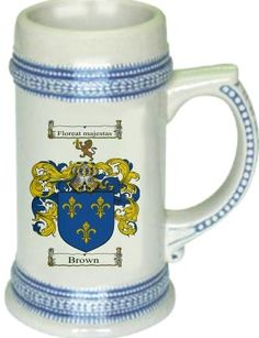 Brown Coat of Arms / Family Crest stein mug | stein mug $21.99  at www.4crests.com - This stein starts with the family coat of arms hand drawn digitally. We then use a high quality 22 oz. ceramic stein to apply the coat of arms to via sublimation.