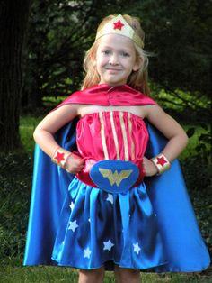 WONDER WOMAN style Super Hero Cape plus accessories by superkidcapes,