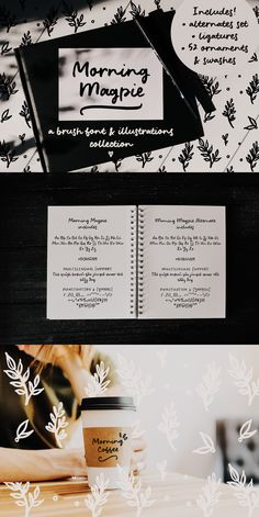 Morning Magpie is a cute handmade brush font with matching illustrations and decorative elements. With an alternates character set, it is perfect for any design that needs a quirky handwritten feel, such as logotypes, postcards and tags, social media quotes. The illustrations will also look great in patterns, in wrapping paper and backgrounds. #fonts #scriptfont #drawings