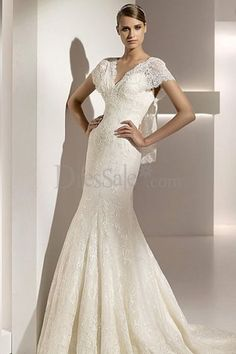 Alluring Mermaid Style Wedding Dress with Fresh Touch of the Classy Lace Detail and Capped Sleeve