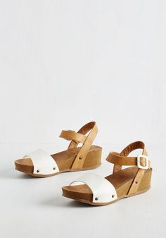 Good Enough to Treat Sandal - Multi, Tan / Cream, White, Casual, Vintage Inspired, Colorblocking, Summer, Wedge