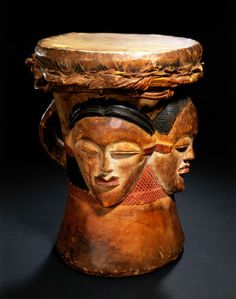 Drum, Culture group: Gabon, Punu peoples. Materials: Wood, hide and pigmented paint. Location: Ngounie River region.