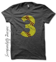 Softball Number Iron on Transfer Iron on by ScrapendipityDesigns