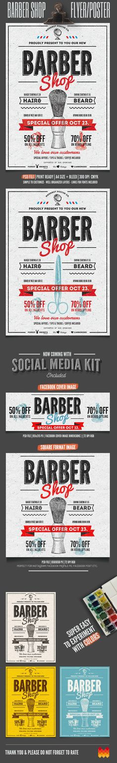 """Barber Shop Vintage Flyer/Poster"" – This flyer/poster was designed to promote barber shop. This poster can also be used for other advertising purposes. It has real vintage – retro feel, with exceptional details."