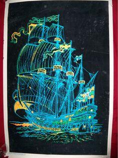 vtg orig GHOST SHIP pirate black light poster velvet psychedelic 1973 jolly in Art, Art from Dealers & Resellers, Posters | eBay