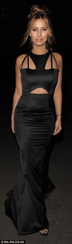 Women in black: Ferne McCann and Jessica Wright looked amazing in black floor length numbe...