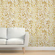 Removable Wallpaper 9ft x 2ft - White Gold Leaf Vine Gardens Climbing Vines Custom Pre-pasted Wallpaper by Spoonflower