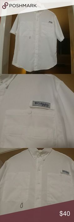 NWOT Mens XS Columbia White PFG shirt Never worn bought for my son but was to small. He took the tags off so we could not return..Bright White PFG shirt ..Shirt could be worn by male or female..very nice. Columbia Shirts Casual Button Down Shirts