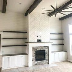 Thinking of this beauty today. Herringbone shiplap, floating shelves and light f. : Thinking of this beauty today. Herringbone shiplap, floating shelves and light for days! Built In Around Fireplace, Tall Fireplace, Fireplace Shelves, Fireplace Built Ins, Shiplap Fireplace, Home Fireplace, Fireplace Remodel, Living Room With Fireplace, Fireplace Surrounds