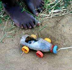 African children use recycled goods to make toys. Since they can not afford and do not have the opportunity to shop. This could also be their favorite toy! Makes you appreciate what you have.