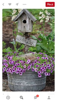 Could totally use this metal tub as a planter with a bird house coming out on a post. Would be very sturdy!
