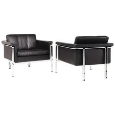 Horst Brüning; #6910 Chromed Steel and Leather Club Chairs for Kill, 1960s.