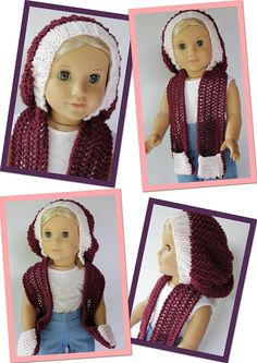 Slouch Skoodie for dolls - knitting pattern by Doll Tag Clothing