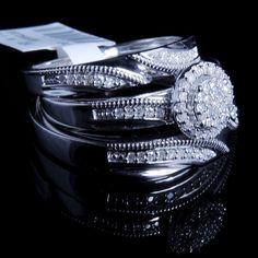 New .25 Carat Diamond Engagement Ring Set White Gold Fn Round Halo Trio Band