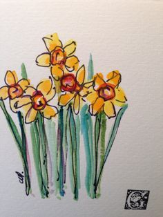Items similar to Yellow Daffodils Watercolor Card on Etsy Watercolor And Ink, Watercolour Painting, Watercolor Flowers, Painting & Drawing, Watercolors, Daffodil Tattoo, Mellow Yellow, Flower Art, Cactus Flower