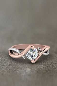 Mixed Metal Twist Single  Anniversary Gifts with Diamonds in 14K Rose Gold exclusively styled by Fascinating Diamonds