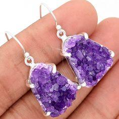 Amethyst Druzy 925 Sterling Silver Earrings Jewelry AMDE165