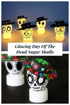 glowing Day of the Dead sugar skulls are super easy to make and will be a ., These glowing Day of the Dead sugar skulls are super easy to make and will be a ., These glowing Day of the Dead sugar skulls are super easy to make and will be a . Sugar Skull Crafts, Sugar Skull Decor, Sugar Skull Art, Sugar Skulls, Vintage Halloween, Halloween Crafts, Vintage Witch, Halloween Stuff, Halloween Makeup