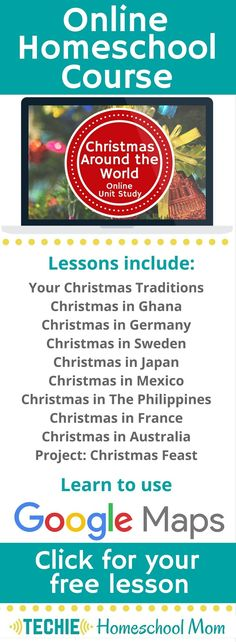 Try the Christmas Around the World Online Unit Study. This online homeschool course integrates multiple subjects for multiple ages of students. Access websites and videos and complete digital projects. With Online Unit Studies' easy-to-use E-course format, no additional books or downloads are needed. Just gather supplies for hands-on projects and register for online tools. Click for your free lesson.