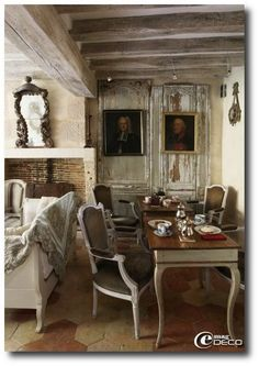 Keywords:Provincial, French Provincial, French Provence, French Decorating, French Furniture, Painted Furniture, Distressed Furniture, 18th Centuy, France, Rustic Homes, Period Homes. Ceiling boarded