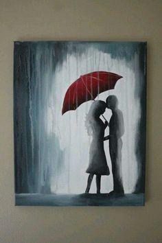 Red umbrella and kissing couple, paint rain, beginner painting idea. Painting & Drawing, Rain Painting, Umbrella Art, Umbrella Painting, Yellow Umbrella, Love Art, Painting Inspiration, Diy Art, Amazing Art