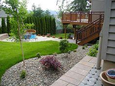 vorgartengestaltung mit kies und eine hecke dünnen bäume, Garten und bauen