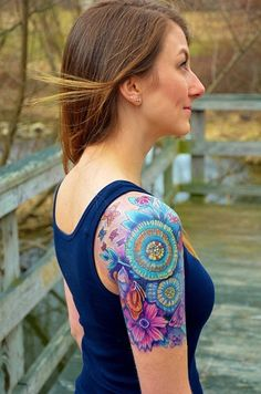 Sleeve tattoos are loved by people as they are easily visible and cool if properly designed and inked. Quarter Sleeve Tattoos are those covering about a Colorful Sleeve Tattoos, Tattoos Geometric, Colorful Flower Tattoo, Feminine Sleeve Tattoos, Bright Colorful Tattoos, Paisley Flower Tattoos, Girly Sleeve Tattoo, Colorful Mandala Tattoo, Bright Tattoos