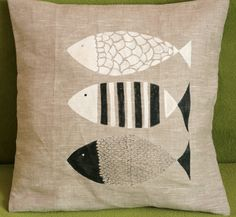 Fish Trio Linen Pillow Cover от HandHook на Etsy