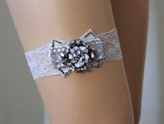 FREE SHİP Wedding Garter, Gray Lace Bridal Garter,Wedding Accessory,Bridal Lingerie,Wedding Lingerie,