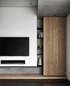 Dropped bulk head over entry to outside. Could help reduce height of glazing required 0 0 5 7 9 Living Room Tv Unit, Interior Design Living Room, Living Room Designs, Living Room Decor, Tv Wall Design, House Design, Tv Feature Wall, Plafond Design, Muebles Living