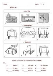 English worksheet: Where is...?  It´s in, on or under...