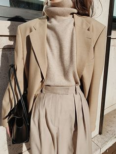 The Level Store Neutral Blazer , Chinti and Parker Neutral Roll-neck Sweater , Arket Wool Flannel Trousers , Jonak Lace-up Boots , Bottega Veneta Arco 33 Leather Bag Aesthetic Fashion, Aesthetic Clothes, Estilo Dark, Look Office, Scandinavian Fashion, Roll Neck Sweater, Winter Mode, Minimal Fashion, Fashion Looks