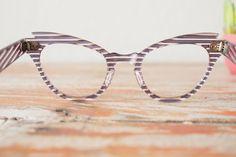 Vintage Eyeglasses Cat Eye Frames glasses Very Rare by Cat Eye Frames, Blue Stripes, Eyeglasses, 1960s, Lens, Buy And Sell, Stuff To Buy, Vintage, Eyewear