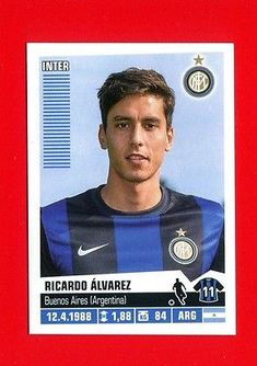 CALCIATORI Panini 2012-2013 13 -Figurina-sticker n 195 - ALVAREZ - INTER -New Milan Football, Player Card, Stickers, Baseball Cards, News, America's Cup, Trading Cards, Hs Sports, Soccer