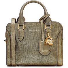 Alexander McQueen Mini Padlock Leather Shoulder Bag ($1,315) ❤ liked on Polyvore featuring bags, handbags, shoulder bags, gold, real leather purses, shoulder bag purse, shoulder strap bags, genuine leather shoulder bag and shoulder handbags