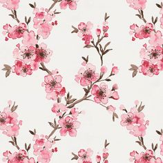 Pink Cherry Blossom Fabric by Carousel Designs.
