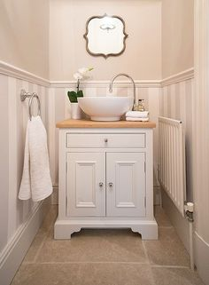 Washstand - perfect for small space. Neptune  Downstairs bathroom. Love walls.