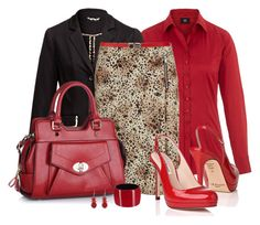 Office outfit: Red - Black - Animal Print by downtownblues on Polyvore featuring Barse, Carven and EBANO