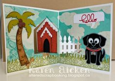 Karen Aicken using the Pop it Ups House Pivot Card, Palm Tree & Pail, Buster the Dog, Props 4 and Rectangle Accordion (speech bubble and hello) by Karen Burniston for Elizabeth Craft Designs. - Altered Scrapbooking: January 2015 Designer Challenge Card #2