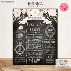 Floral Baptism Chalkboard Sign Christening Chalkboard Poster- Digital File - Any Age - Any type of event by IconicaDesign on Etsy